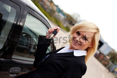 Stock photo: Woman driver in right hand drive vehicle
