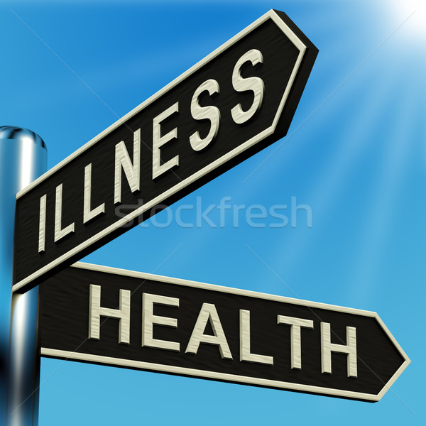 Stock photo: Illness Or Health Directions On A Signpost