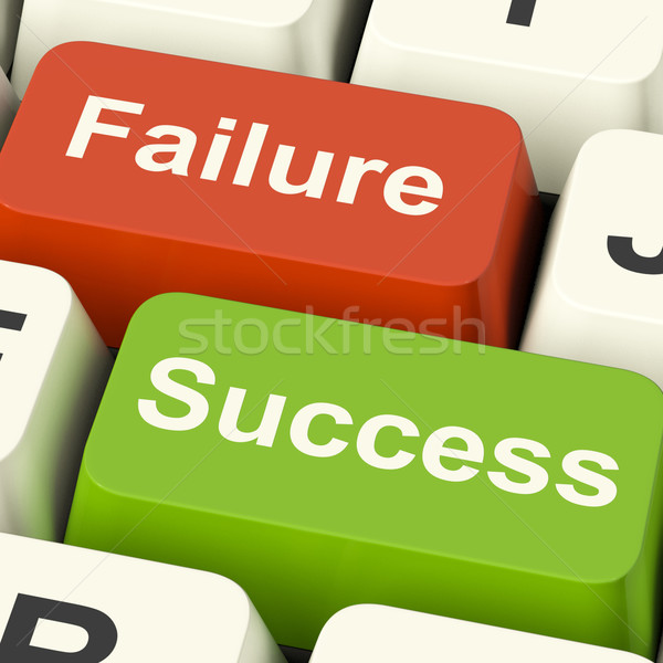 Stock photo: Success And Failure Computer Keys Showing Succeeding Or Failing