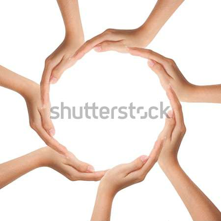 Stock photo: Multiracial human hands making a circle with Copy Space