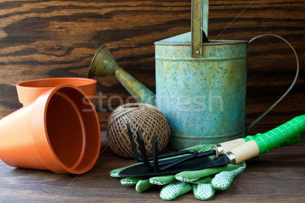 Free Garden Design Tool on Stock Photo Watering Can And Garden Tools