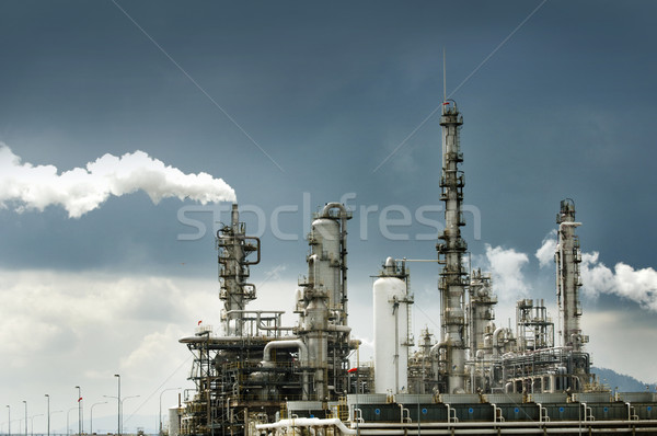 Stock photo: Oil refinery with smoke