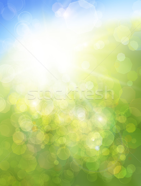 Stock photo: Eco nature / green and blue abstract defocused background with s