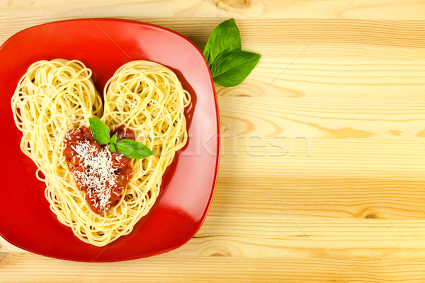 Stock photo: I love Pasta / Spaghetti on a plate and wooden table  / Heart Sh