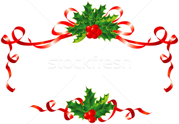 ... Christmas decoration / holly and ribbons border / vector illustration