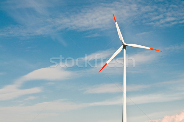 Stock photo: wind turbines farm