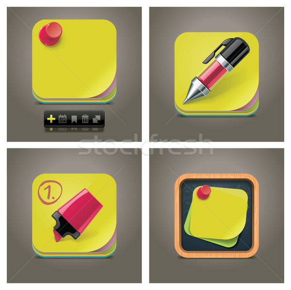 Stock photo: Vector sticky note icon set