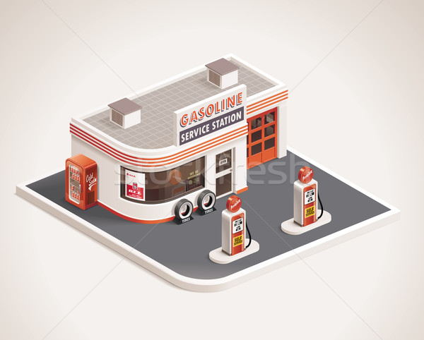 Stock photo: Vector roadside gas station XXL icon