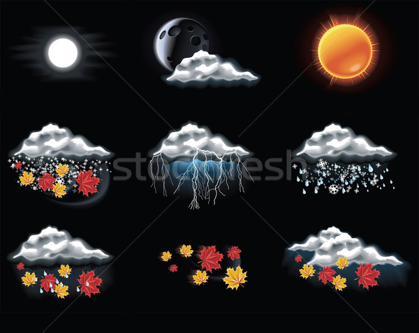 Stock photo: Vector weather forecast icons. Part 2