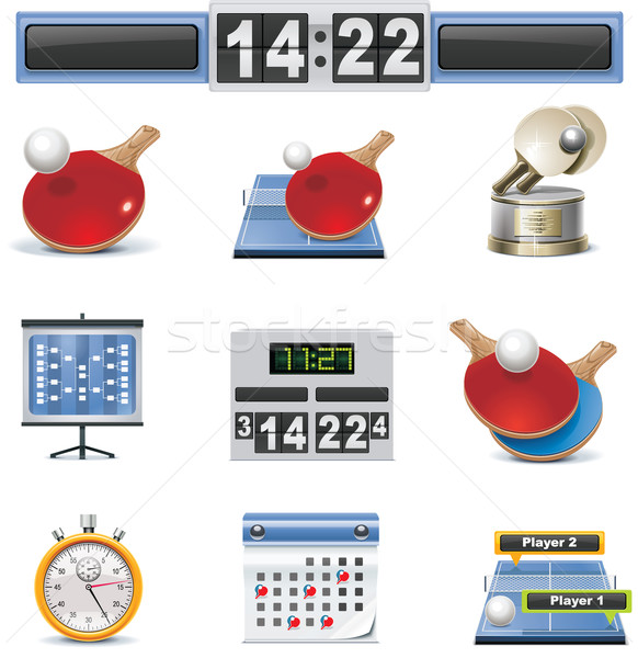 Stock photo: Vector table tennis icon set