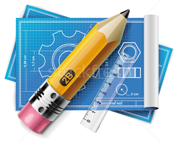 Stock photo: Vector technical drawing XXL icon