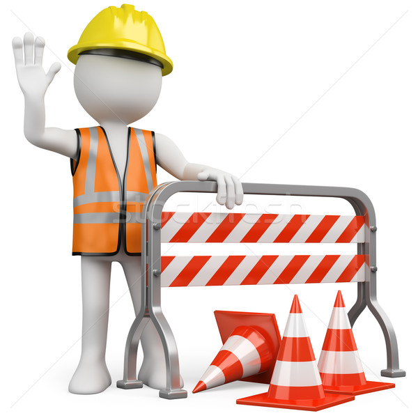 Stock photo: Worker with a reflective vest and hard hat leaning on a construction barrier