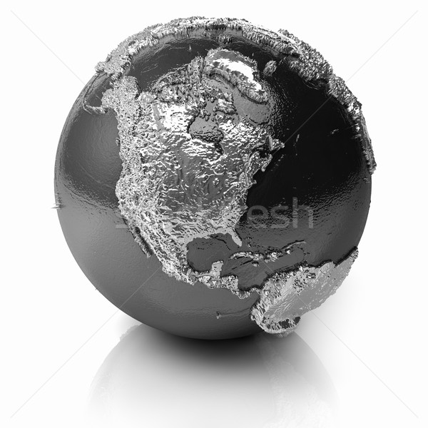 Stock photo: Silver Globe - North America