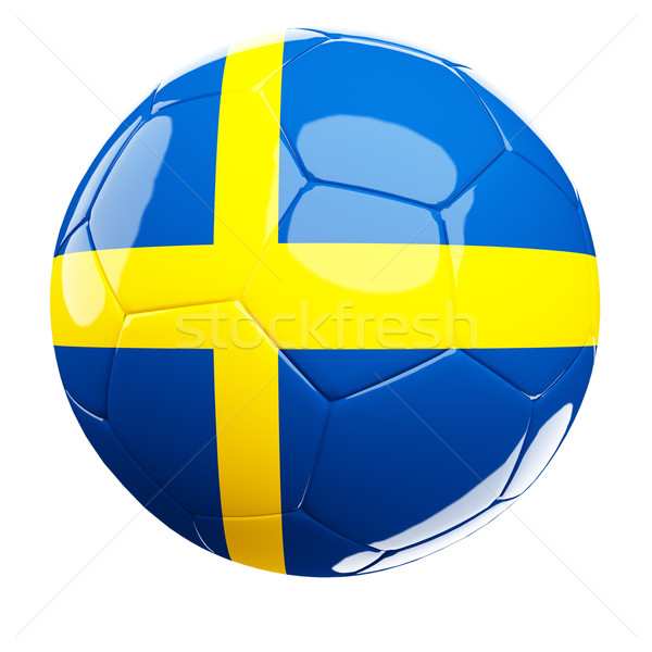 Stock photo: sweden soccer ball 3d