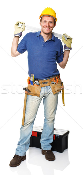 Stock photo: handyman with spirit level