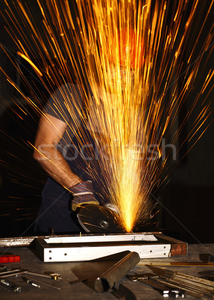 danger work, labor use electric grinder in a wrong way