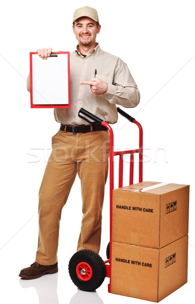 Stock photo: delivery man portrait