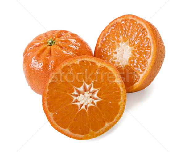 Stock photo: Fresh healthy mandarin citrus fruit on white background