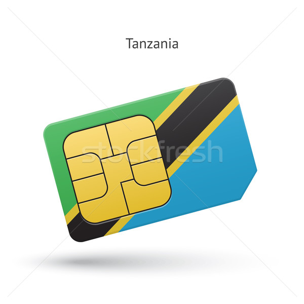 Tanzania mobile phone sim card with flag. vector ...