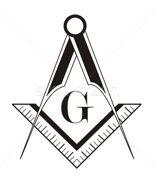 Stock photo : black and white freemason symbol illustration on white ...