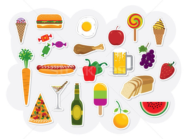 Vector illustration vector clip art collection of food and drinks