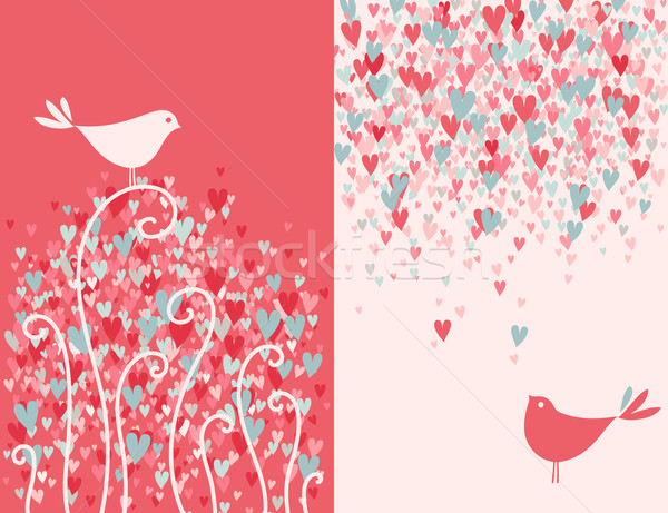 Stock photo: Valentine's day greeting card with two pretty love birds