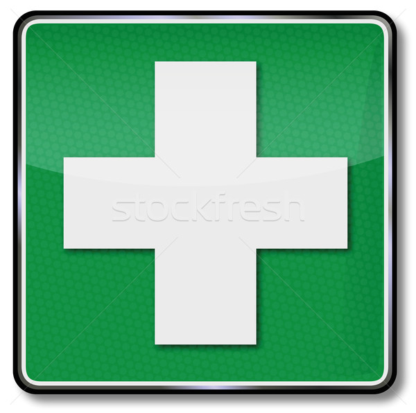 Fire safety sign cross, cry for help, first aid kit and first aid ...