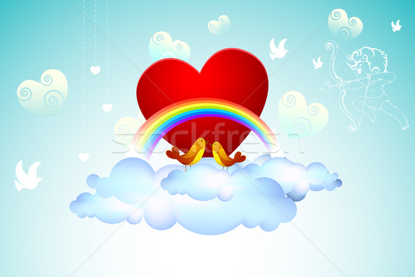 Stock photo: Love Birds on Cloud