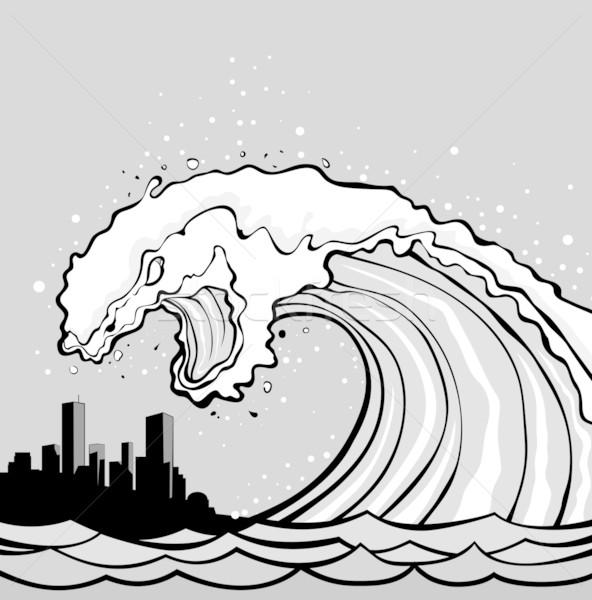 how to draw a tsunami wave