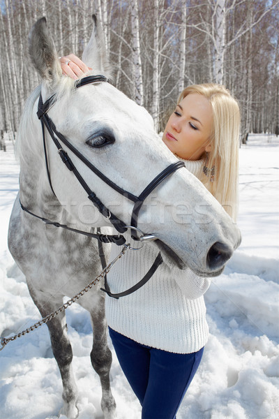 Stock photo: beautiful girl with horse