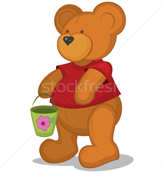 Stock photo: Teddy bear with pail in red T-short