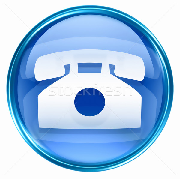 Stock photo: phone icon blue, isolated on white background.