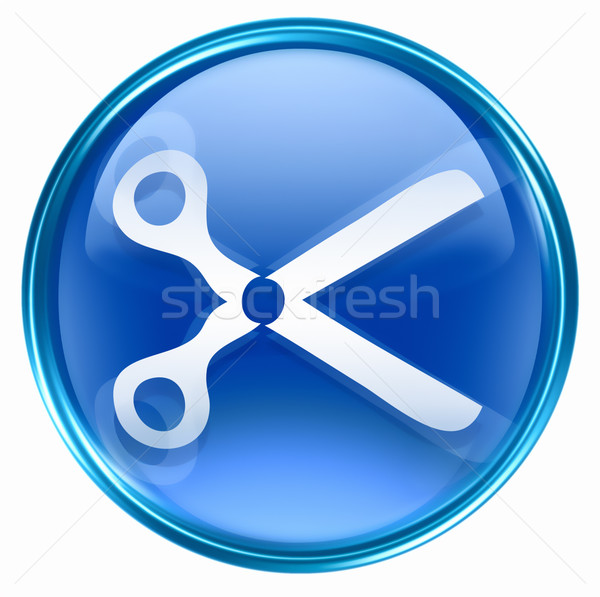 Stock photo: scissors icon blue, isolated on white background.