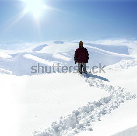 Human on mountain, winter, snow, walk stock photo © Jasmin Merdan (zurijeta) ...